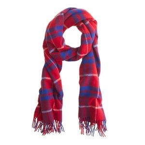J. Crew Giant Red & Blue Plaid Wool Scarf 🧣